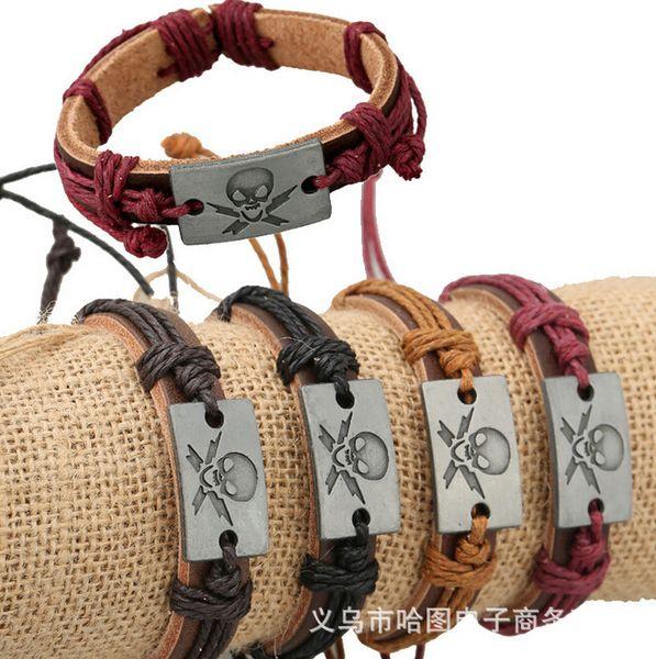 Alloy Human Skeleton Scalp Bracelet Cowhide Bracelet Skull Charm Concise Fashion Genuine Leather Bracelet