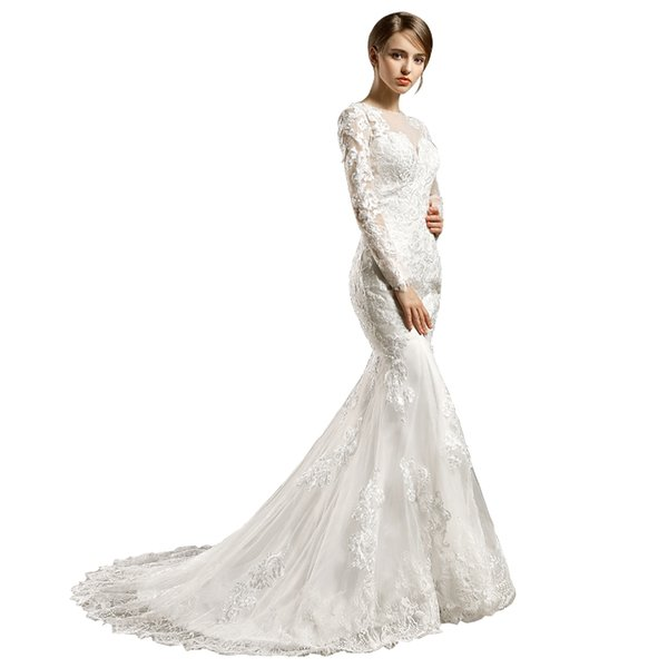 Vintage Mermaid Wedding Dresses Long Sleeves Off Shoulder Full Lace Court Train White Bridal Gowns Wedding Gowns Custom Made DH172