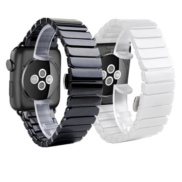 Banda para el reloj de Apple 38/42/40/44 mm Pulsera de cerámica de lujo Enlace del reloj Correa de banda con conector Reemplazo Muñequera para Apple