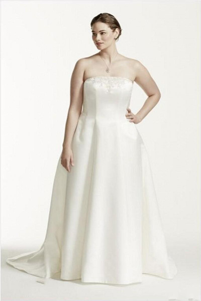 2019 플러스 사이즈 두 조각 웨딩 드레스 끈이없는 깎아 지른 긴 소매 레이스 자 켓 사용자 정의 웨딩 드레스 1365와 라인 신부 웨딩 드레스