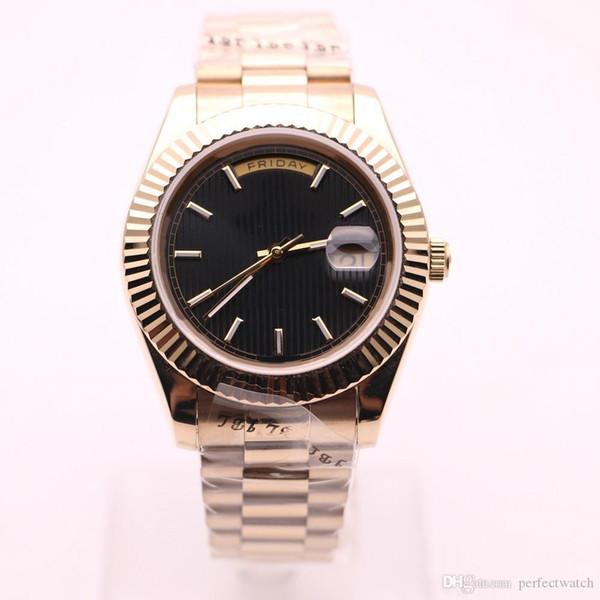 hot sale New model 44mm Big diamond Silver Case Day-Date Black face watch sapphire original clasp automatic Mechanical WristWat 111