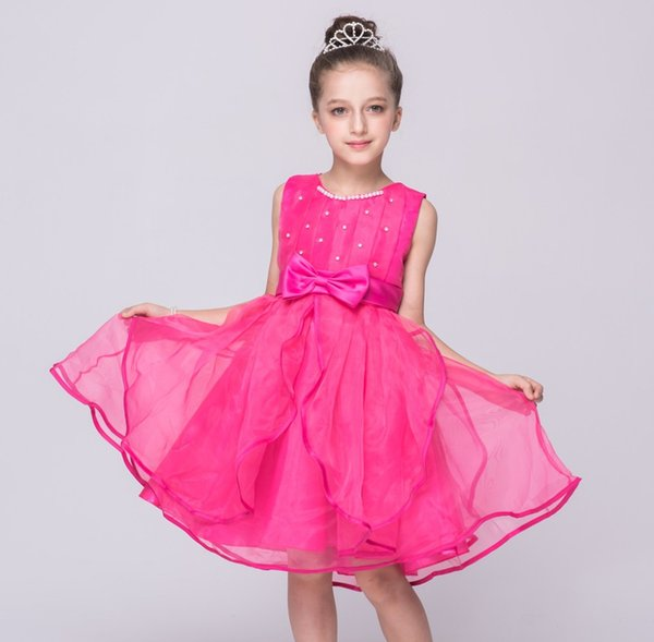 XABH 2019 Girls Dresses Sleeveless crystal bow-tied Party Dress Wedding Vestidos Para Ninas Graduation Costumes Kid Ball Gown