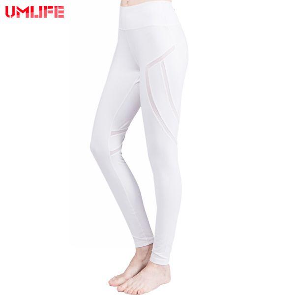 UMLIFE 2017 Yoga Pants High Waist Woman Yoga Legging White Mesh Splice Leggings Sport Women Fitness Running Invisible Pocket