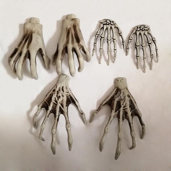 Halloween Skeleton Hands Bruja Manos para Decrating Plastic Bar Haunted House Decoration Decoración de Halloween Horror Props 2 unids / lote RRA1637