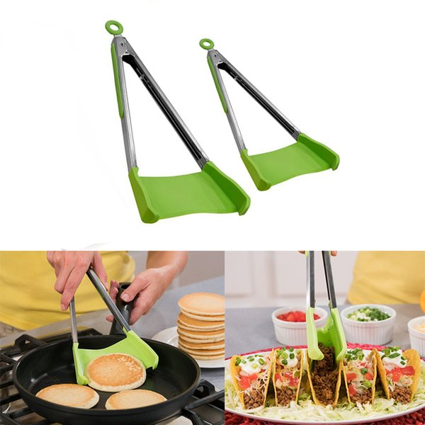 Non-stick Heat Resistant Kitchen Helper Frame Clever Spatula Tong 2-in-1 Kitchen Spatula Tongs Kitchen Tongs Tools wang