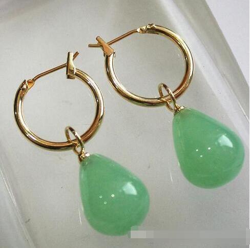 Nueva más simples de oro de métal + Gota de agua luz verde 12 * 16 mm Jades pendientes pan