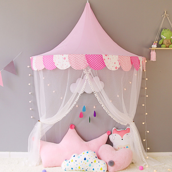 Baby Crib Netting Princess Dome Bed Canopy Childrens Bedding Round Lace Mosquito Net For Baby Sleeping 6 Colors SH190917