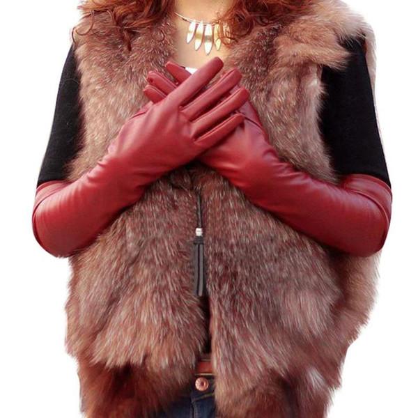 Moda-Kadın Sahte Deri Dirsek Eldivenler Kış Uzun Eldiven Sıcak Çizgili Parmak Y8 CQ4