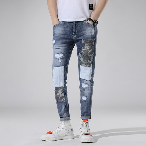 Men patch Stretch Jeans Slim Fit Wash camouflage Zipper Hip Hop Hole close-fitting Denim pants Straight Destroyed Trousers 1piece AAA1964