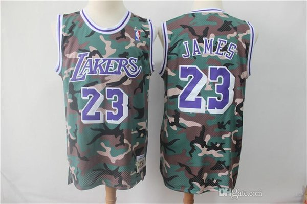 33d52e37f0e Kobe 24 Bryant LeBron 23 James Mens 32 Johnson Los Angeles LAK Laker  Mitchell & Ness Straight Fire Camo Swingman basketball Jersey