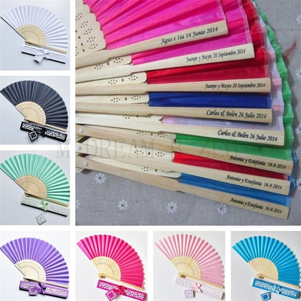 best selling 15 colors personalized wedding fans printing text on silk fold hand fans with gift box wedding favors and gifts