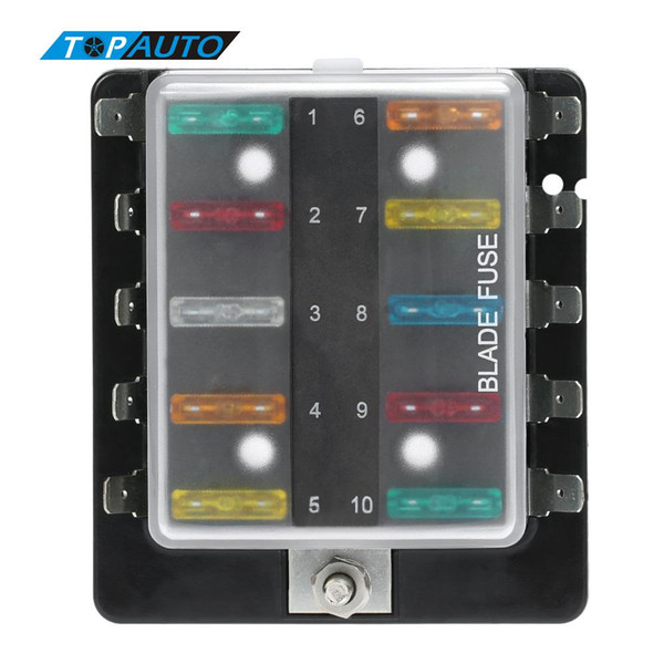 freeshipping 10 way blade fuse box holder with plastic cover m5 stud  standard 6 3mm spade