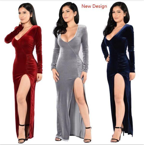 Woman Velvet Evening Dresses Full Sleeve V Neck Sexy Club Wear Cotton+Polyester M L XL 2XL 4 Colors Party Split Dress