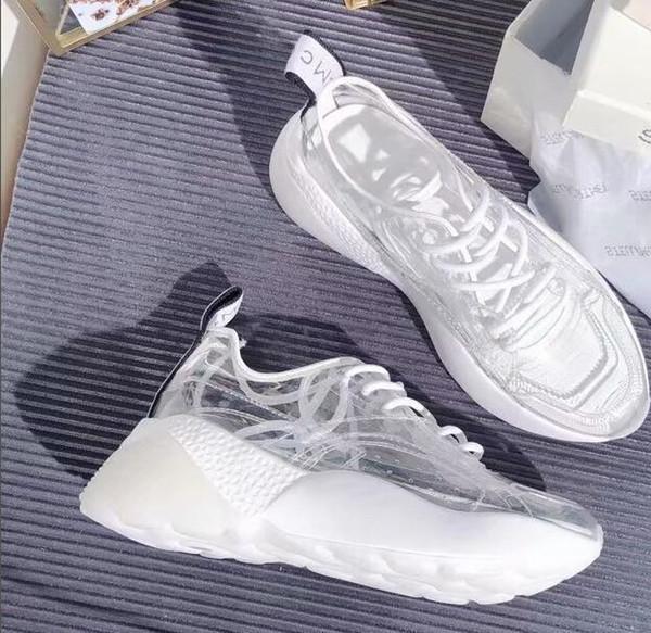 Primavera 2019 piattaforma vintage pan di spagna allacciata piccole scarpe bianche scarpe da ginnastica in film trasparente moda donna scarpe casual popolari