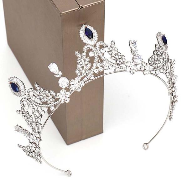 Новый дизайн Синий Серебряный Кристалл Tiara Корона головной убор невесты Noiva свадьбы Royal Queen Princess Pageant волос ювелирных изделий Диадема