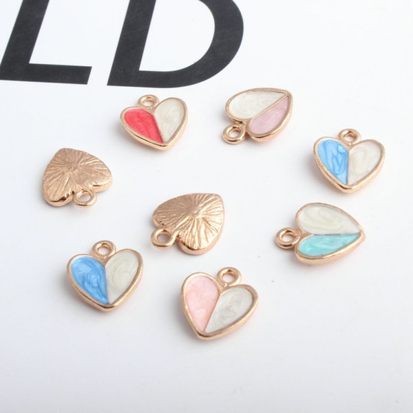 200pcs/lot new design double color enamel heart charms pendant 12*15mm good for jewelry making DIY craft