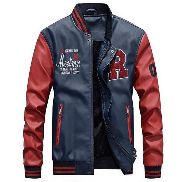 Jacket Men Embroidery Jackets Pu Faux Leather Coats Slim Fit Zipper Casual College Fleece Pilot Leather Jackets