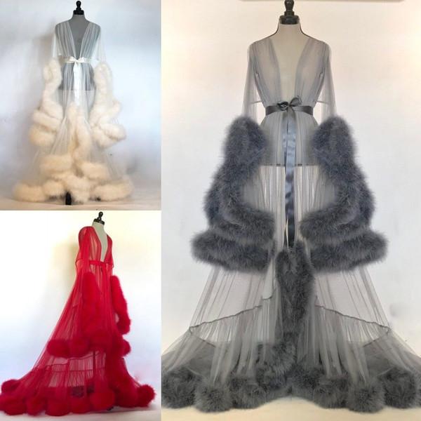 best selling Women Winter Sexy Faux Fur Lady Sleepwear Women Bathrobe Sheer Nightgown Red White Gray Robe Prom Bridesmaid Shawel