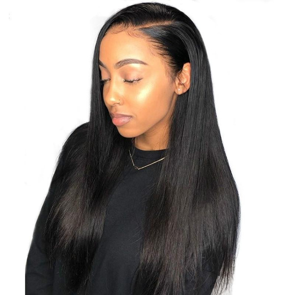 24 inches Lace Front Human Hair Wigs For Women Straight 250% Brazilian Glueless Lace Wig With Baby Hair Natural Black 13x4 Remy Wigs