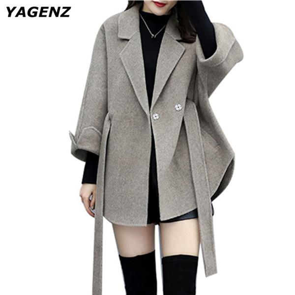 2019 spring autumn women loose cloak woolen coat short wool coats plus size solid color boutique fashion jacket outerwear parka