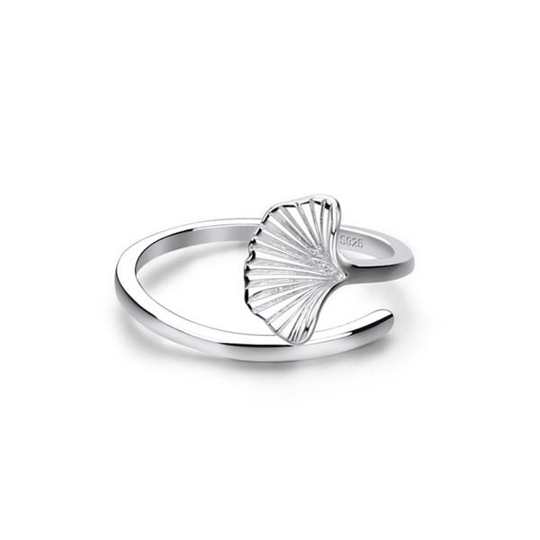 Anello classico regolabile albicocca foglia 100% argento sterling 925 Anello semplice dito indice Moda gioielli in argento Ragazza regalo donna