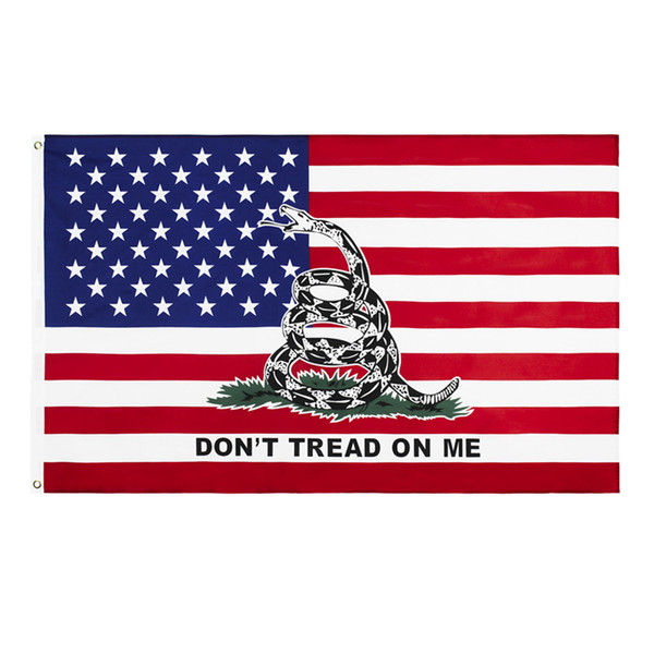 best selling Direct factory 3x5fts 90x150cm american dont tread on me snake american gadsden Flag for decoration Wholesale HN295