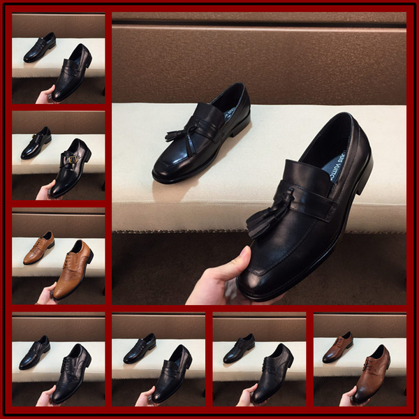 40 Style Mens designer shoes famous Red bottom brand mens formal wedding shoes genuine leather high quality studded rhinestone mens