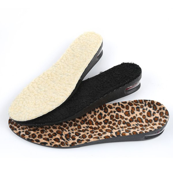 3 Colors Height Increase Insoles Winter Unisex Warm 2 Layers PU Air Cushion Insole Height Increasing 5 cm Inserts Shoe Pad