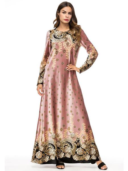 Moslemkleid Frauen Lange Ärmel Türkei Samt Druck Dubai Kleid Maxi Abaya Islamische Kleidung Robe Kaftan Marokkanischen Vestido 7318