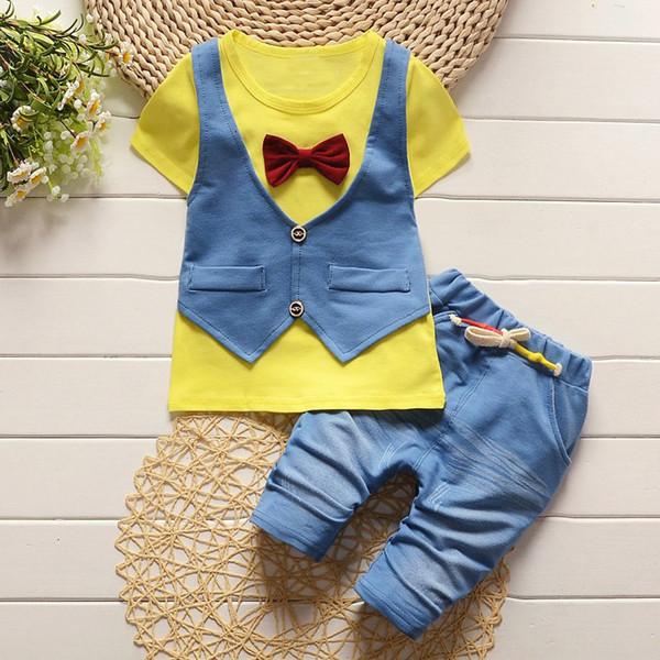 good quality New Summer Baby Boy Clothing Sets Gentleman Boys Cotton T-shirt + Pants 2Pcs Casual Sport Suits Children Clothes Sets