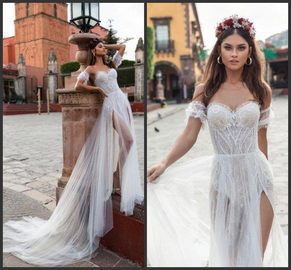 2019 Nuevo Julie Vino Vestidos de novia blancos Vestidos de novia de encaje cariño Dos lados Dividir Tulle Boho Beach vestido de novia barato