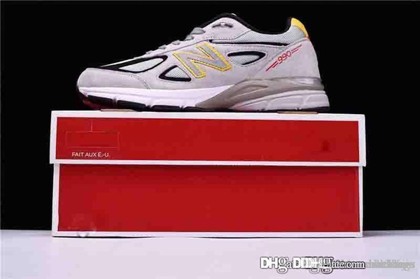 New 2018 Top Quality Balance 990MN4 990 Made in the USA Yellow Gray Castle Rock Mens Running Sneaker in USA M990V With Box