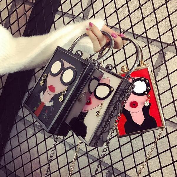 Hot Female Bankett Beutel 2017 Art und Weise neue Handtaschen Personality PU-Leder Frauen Beutel Acrylkarikatur Kette Schulter Messenger