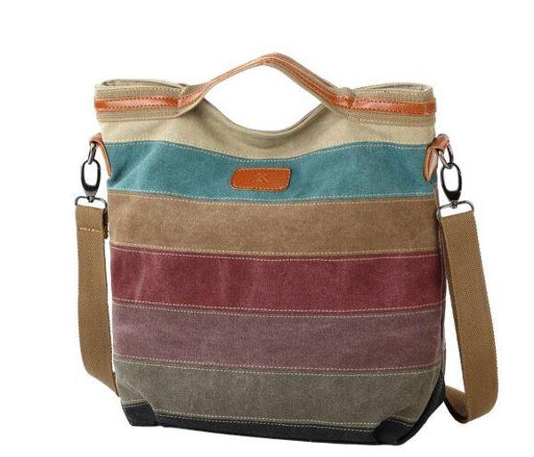 fashion large Two-tone canvas cotton women totes handbag fashion shoulder bags Color stitching purse hobos messenger shopping bag k1078