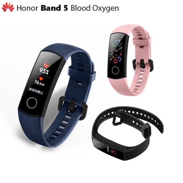Küresel Orijinal Sürüm Huawei Onur Band 5 akıllı bilezik oksimetre dokunmatik ekran Sihirli Renk Swim İnme Kalp Hızı rüya