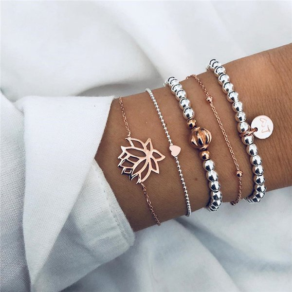19 styles Retro Female Lotus Bead Round Gem Chain Hollow Multilayer Silver Bracelet Set Exquisite Party Clothing Jewelry HZSSL1