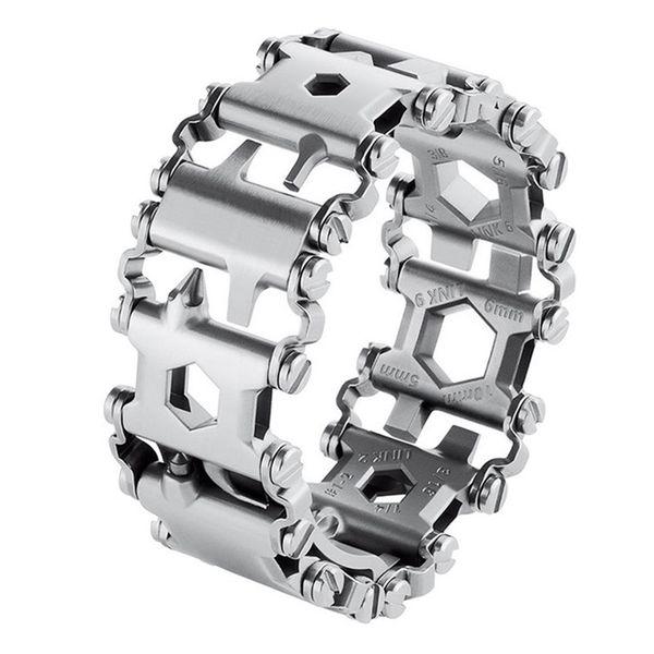 Man Outdoor Spliced Bracelet Multifunctional Wearing Screwdriver Tool Hand Chain Field Survival Bracelet Outdoor Rescue Supplies