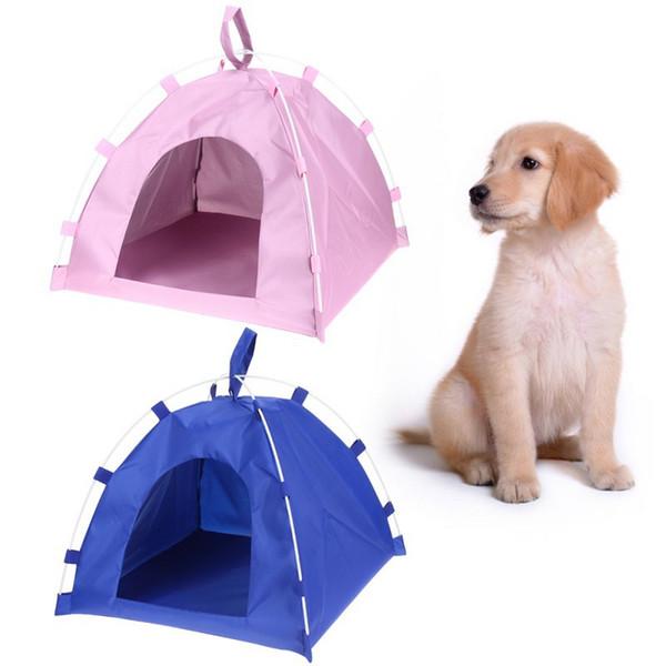 Pet Tent Dog Cat Oxford Cloth Fiber Rod Waterproof Detachable Folding Sleeping Bed Mat Puppy Kitten Summer Outdoor Travel Suppli
