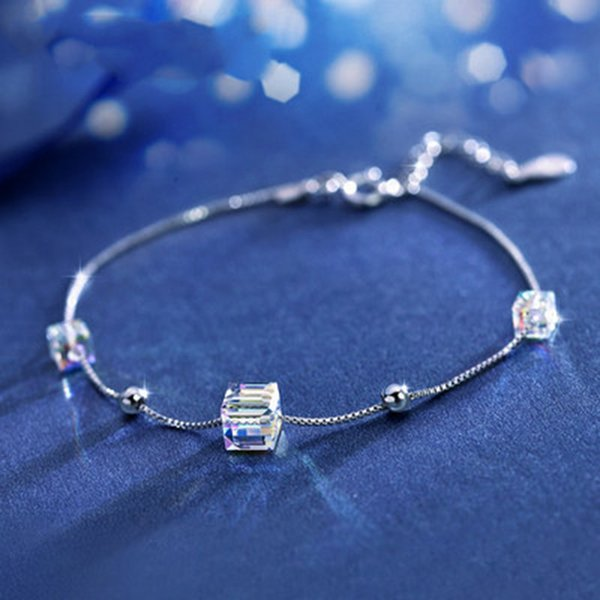 sweet sugar cube bracelet for women square cubic zirconia aurora crystal white gold color party gift fashion jewelry kbh124