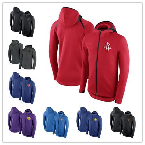 2019 Men Spurs Thunder Laker Rock Warrior Cavaliers Outdoor Jackets Showtime Therma Flex Performance Full Zip Hoodie