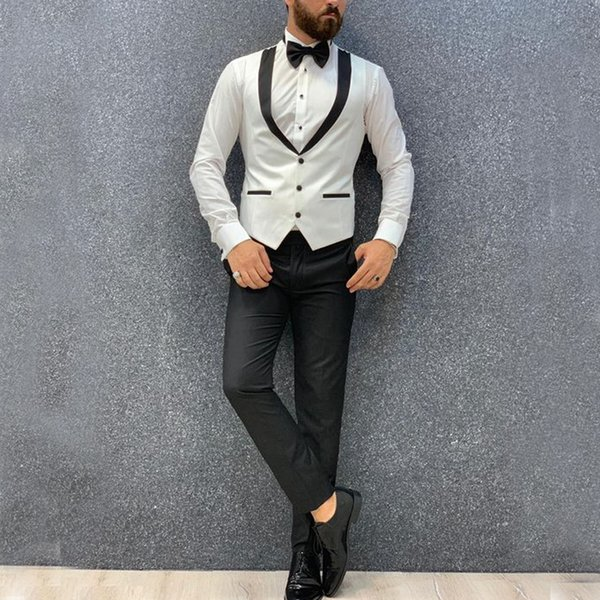 2020 Bianco Mens Wedding Vest sposo Gilet Slim Fit Vest Mens italiano Groomsmen panciotto per partito Trasporto libero
