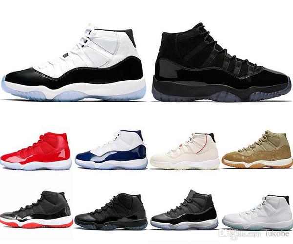 nike air jordan 11 AJ 11  45 XI 11s Herren Basketball Schuhe Platinum Tint Gym Red Gewinnen Sie wie 96 Herren Designer Schuhe Cap und Gown 11s Sports Sneakers