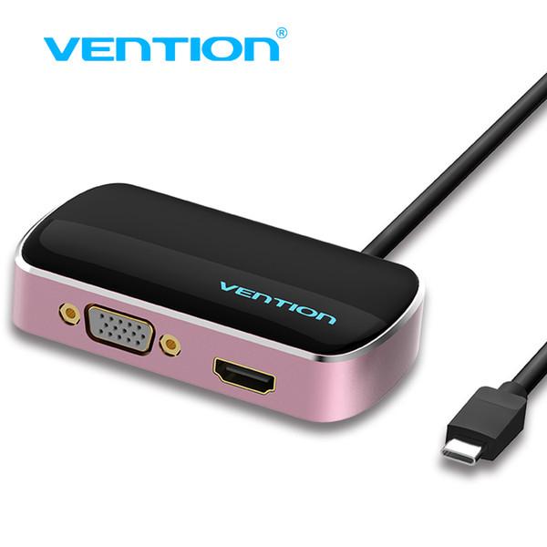 Mukavele Tip-C Giriş VGA / HDMI / USB 3.0 Çıkış Splitter, 1 ila 3 Tip C 3 ila 4 k macbook pro notebook için ekran KUB