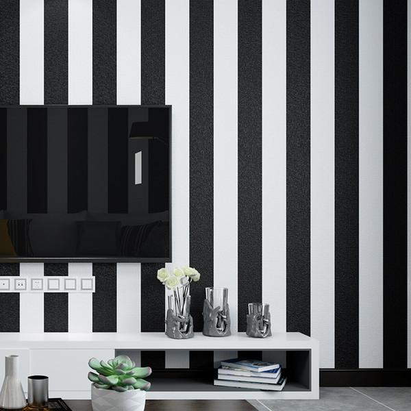 Großhandel 3D Modernes Einfache Schwarz Weiß Grobe Streifen Tapete PVC  Wasserdichte Wohnzimmer Schlafzimmer TV Sofa Hintergrund Wanddekoration Von  ...