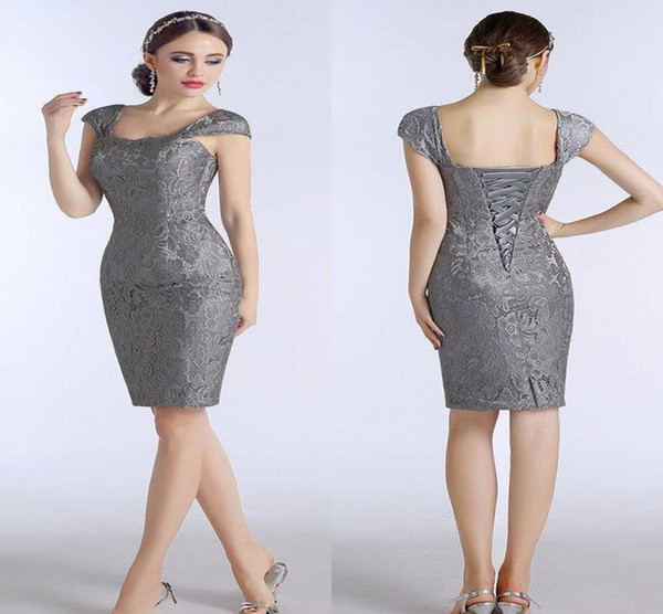 Silver Grey Lace Mother Of The Bride Dresses Knee Length Sheath With Capped Short Sleeves Custom Made Women Evening Dresses