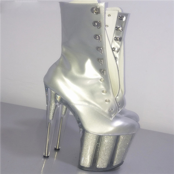 sexy knight female 6 inch high heel platform ankle boots for women autumn winter shoes 15-20cm silver pole dancing boots