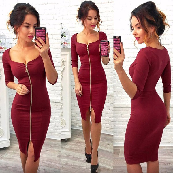 Donne Sexy Club Low Cut vestito aderente Red Velvet Guaina 2018 Casual Autunno Inverno Zipper Fashion Party Dresses Black Office Work