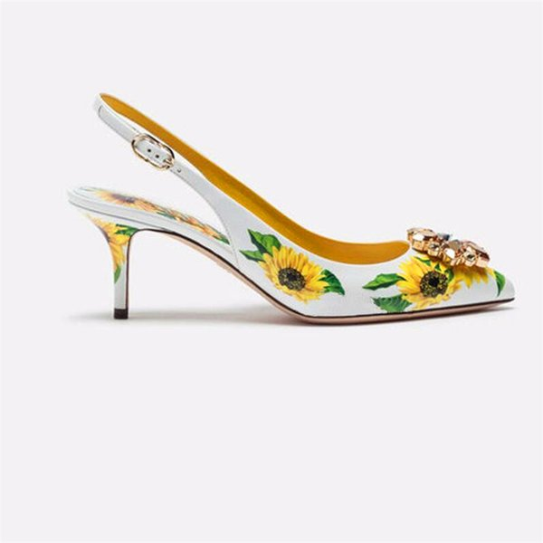 Yellow Sunflower Printing Leather Pumps Formal Ladies Kitten Heel Dress  Shoes Pointed Toe Crystal Embellished Slingbacks Loafers Mens Boots From