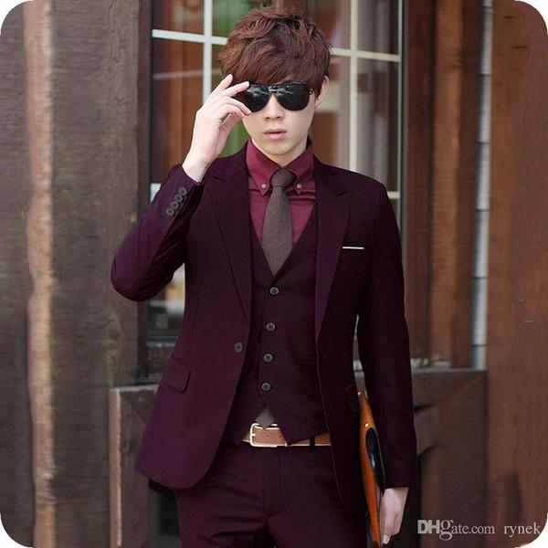 Custom Made Burgundy Men Suits for Wedding Groom Tuxedos Latest Designs Formal Blue Man Blazers Black Male Wear 3Piece(Jacket+Pants+Vest)