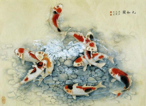 Traditional Japanese Artwork with Koi Carp Art Silk Print Poster 24x36inch(60x90cm) 016